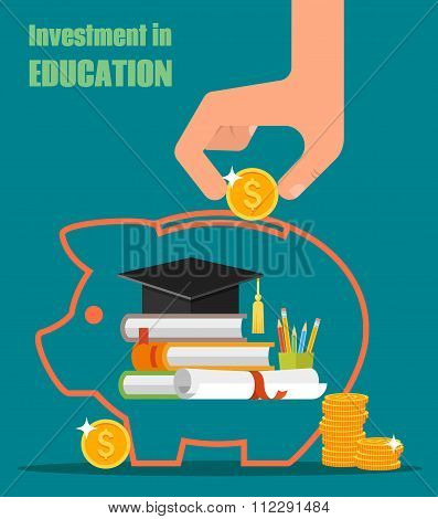 Invest in education vector concept. Stack of books, diploma and university student cap. Money saving