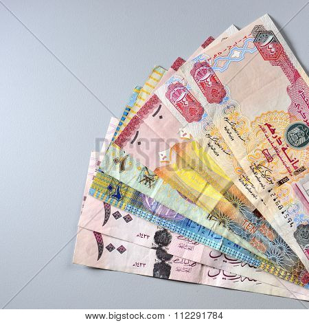 Various currency notes from Saudi, UAE, Kuwait and Oman.