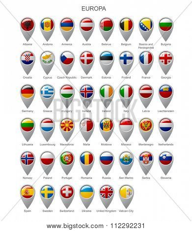 Map marker set with state flags of sovereign countries of Europa with captions in alphabet order.  Vector illustration