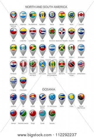 Map marker set with state flags of sovereign countries of North and South America continents and Oceania with captions in alphabet order.  Vector illustration