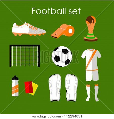 Soccer icons set. Football isolated design elements in flat style. Boots, ball, uniform, whistle, ga