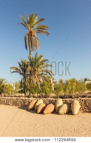 Palm Trees, Clay Vases Lying On Stone Walls