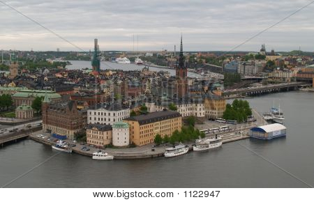 the aerial view of stockholm city center poster