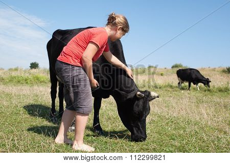Young Girl With Cows