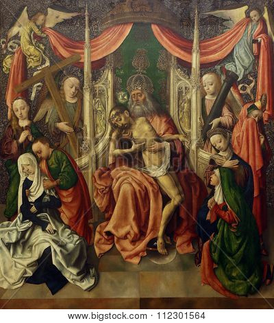 ZAGREB, CROATIA - DECEMBER 08: Master of the painting Virgo inter virgines: Throne of Mercy, Old Masters Collection, Croatian Academy of Sciences, December 08, 2014 in Zagreb, Croatia