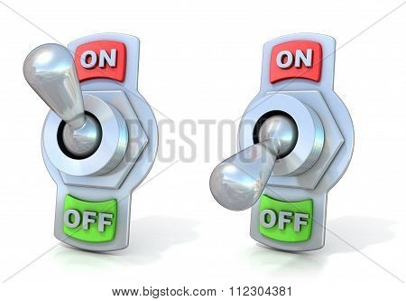 On and off metal toggle switches. 3D