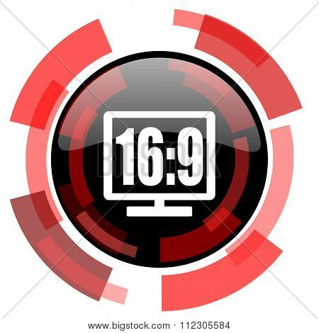 16 9 display red modern web icon
