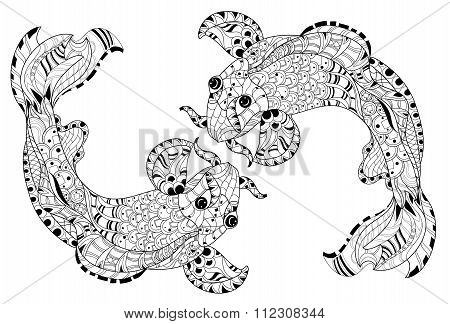 Zentangle stylized floral china fish carp doodle.