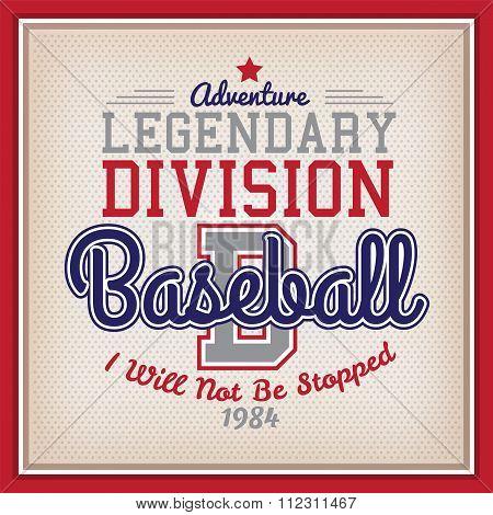Retro Legendary Division Baseball Badge Varsity Style poster
