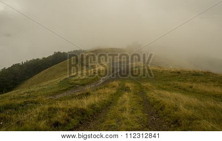 Thick white mist in the  Carpatian mountains poster