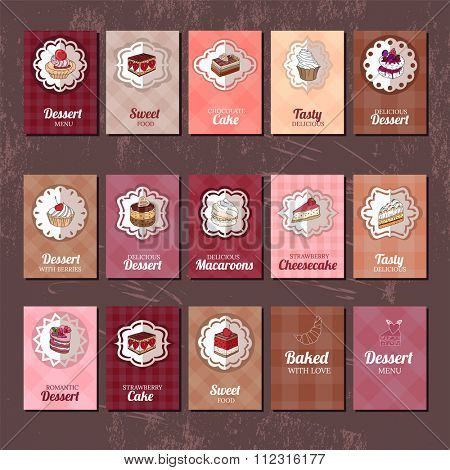 Templates with different kinds of dessert: cake, muffin, macaroon, pie. For your design, announcements, postcards, posters, restaurant menu.