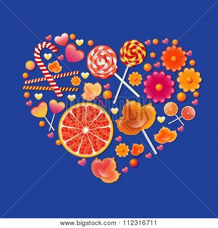 Vector illustration with  sweets heart.