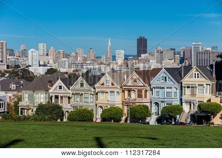 The Painted Ladies Of San Francisco Alamo Square Victorian Houses At California