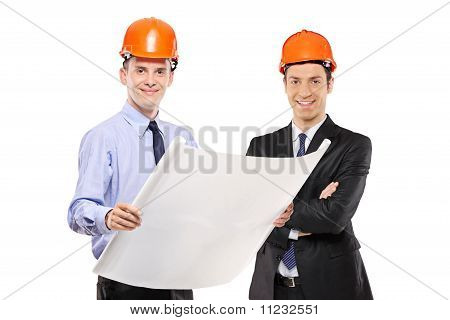 Foremen Posing With Blueprints