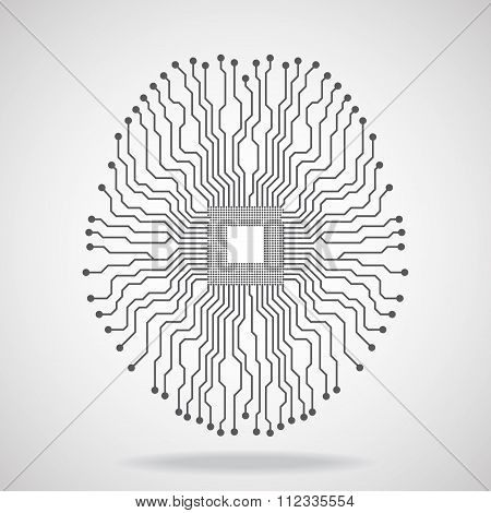 Brain. Cpu. Circuit board