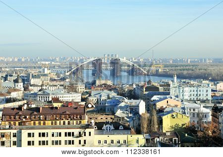 Kyiv, Ukraine - December 21, 2015 year. Winter urban landscape. Podil district of, Kiev, Ukraine