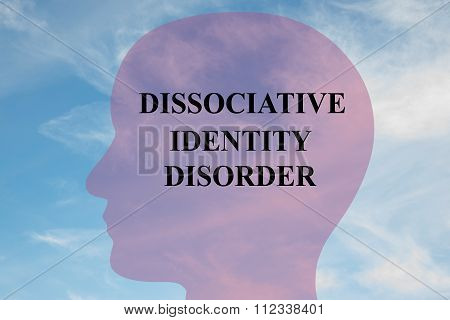 Render illustration of Dissociative Identity Disorder Title on head silhouette with cloudy sky as a background. poster