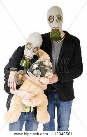 Children In Gas Mask With Toy
