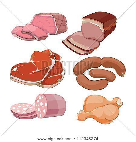 Cartoon butchery meat set