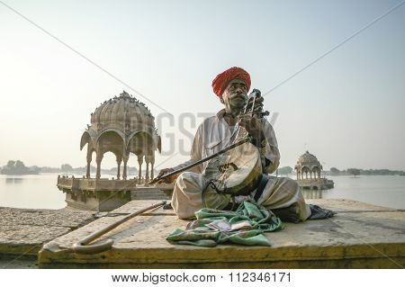 Jaisalmer Lake Traditional Musician.