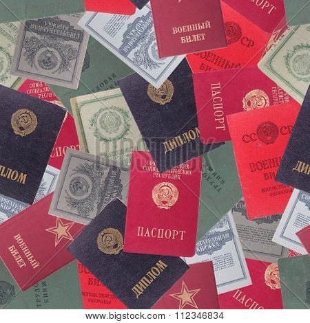 Abstract Seamless Pattern Background. Soviet Documents
