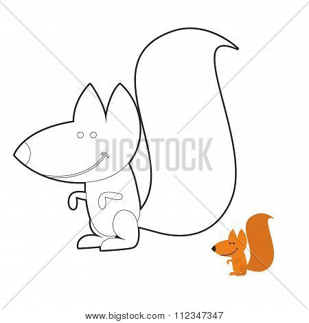 Squirrel Coloring Book. Wild Rodent Frenzy. Funny Cute Animal Out Of  Forest.