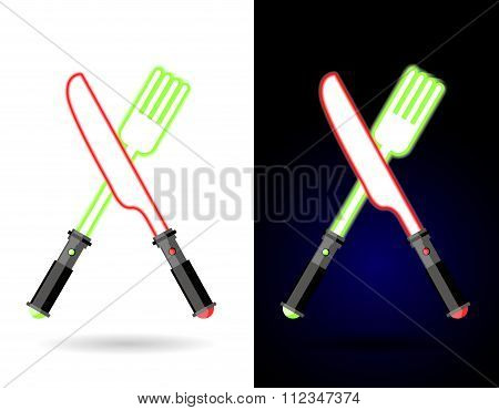 As Cutlery. Shiny Knife And Fork From Energy Of Plasma. Crossed Swords As In War. Ac