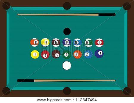 Billiard table, billiard balls