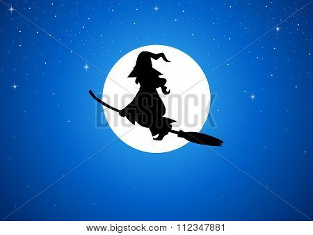 Cartoon of a witch flying with her broom during full moon poster
