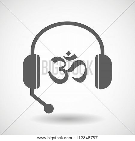 Remote Assistance Headset Icon With  An Om Sign