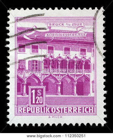 AUSTRIA - CIRCA 1962: a stamp printed in the Austria shows Kornmesser House, Bruck on the Mur, circa 1962