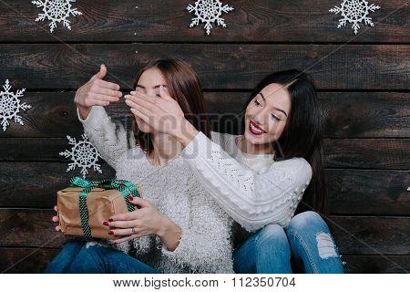 Two young girls friends having fun