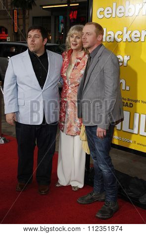 Nick Frost, Blythe Danner and Simon Pegg at the Los Angeles Premiere of