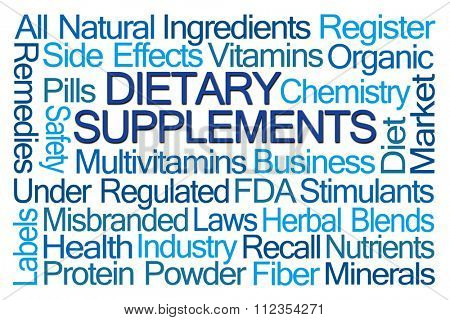 Dietary Supplements word cloud on blue background poster