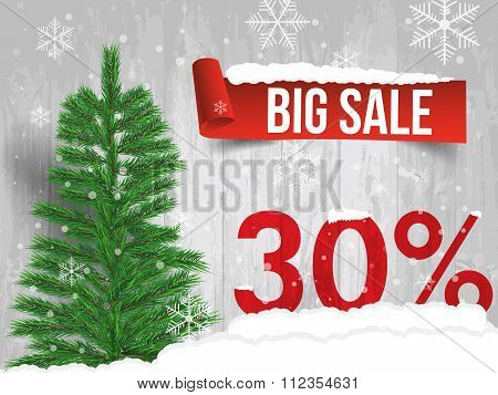 Winter Sale 30 Percent. Winter Sale Background With Red Ribbon Banner And Snow. Sale. Winter Sale. C