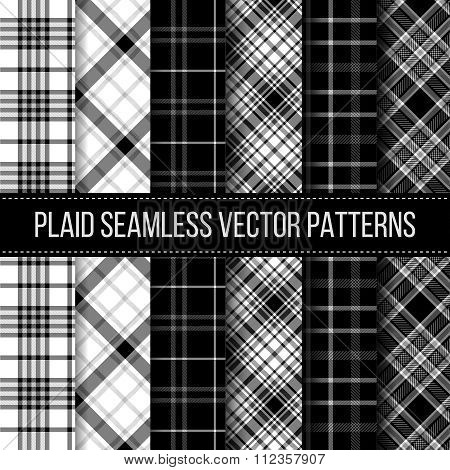 Black and White plaid, buffalo check, gingham seamless patterns set. Fashion cloth textile, vector illustration poster