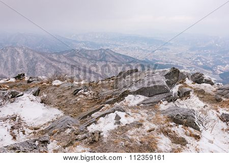 Winter Landscape White Snow Of Mountain In Korea.