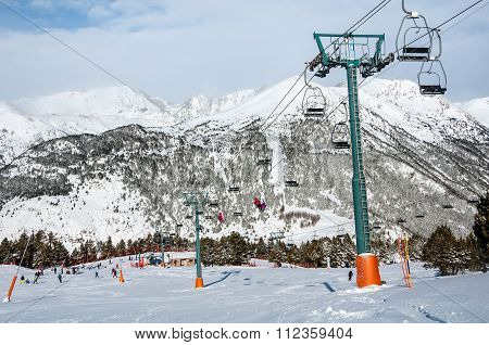 Slopes Of Winter Resort El Tarter In Andorra