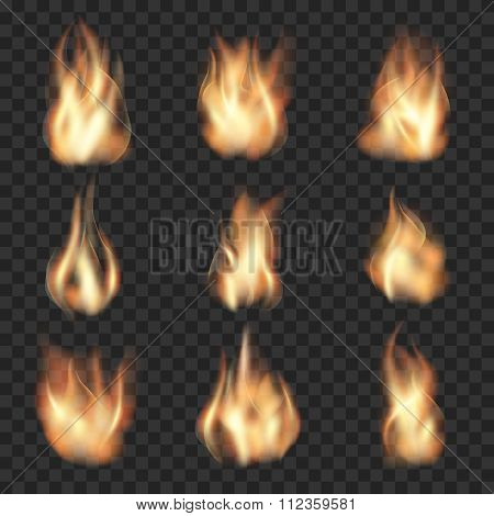 Realistic vector fire flames on checkered transparent background