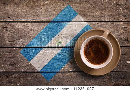 Nicaragua Flag With Coffee