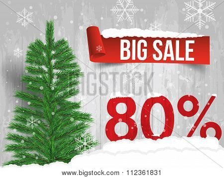 Winter Sale 80 Percent. Winter Sale Background With Red Ribbon Banner And Snow. Sale. Winter Sale. C