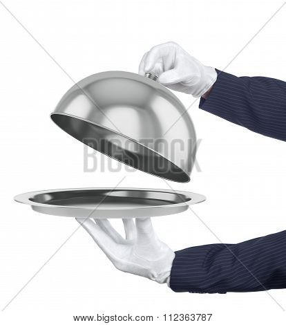 Restaurant Cloche With Open Lid. 3D Illustration.