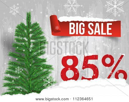 Winter Sale 85 Percent. Winter Sale Background With Red Ribbon Banner And Snow. Sale. Winter Sale. C