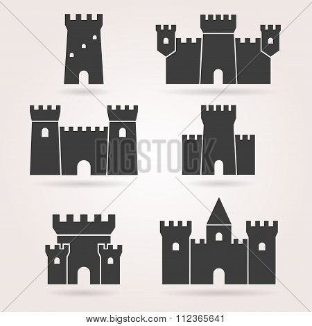 Castle set of black silhouettes