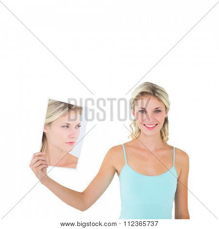 Woman showing picture of herself in shock