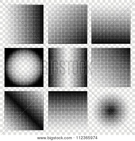 Halftone vector set of backgrounds