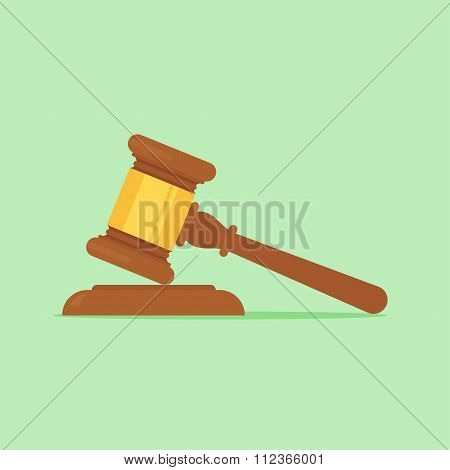 Judge gavel vector flat illustration