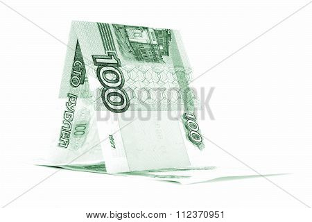 Russian Currency Ruble Hutch, Rouble Cabin Isolated On White Background