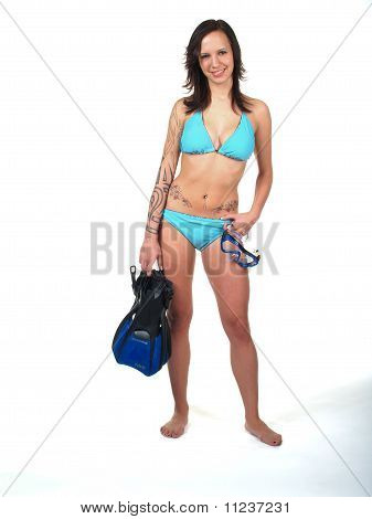 Girl In Bikini with Snorkel