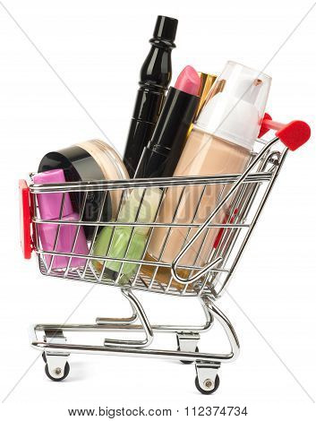 Set of cosmetics tubes in shopping cart